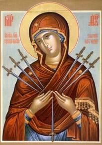 Ікона Божої матері Пом'якшення злих сердець або Семистрільна